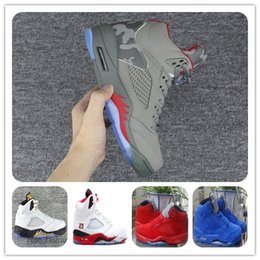 Wholesale 5s Leather Genuine - Wholesale JV 5s REFLECTIVE CAMO Retro Basketball Shoes For Mens Sneaker Suede Leather Athletics Shoes 5S Sports Shoes On Cheap Trainers