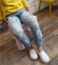 Wholesale Kids Girl Ripped Jeans - Boys & Girls Ripped Jeans Spring Summer Fall Style 2017 Trend Denim Trousers For Kids Children Distrressed Hole Pants