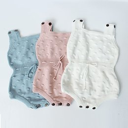 baby yarns knitting Coupons - 3 Color Baby boy girl INS knitting woolen yarn rompers Children ins cartoon cotton Sleeveless rompers baby clothes B001
