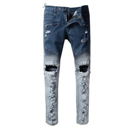 Wholesale Male Thighs - New Mens Distressed Stretch Moto Pants Thigh Pad Male jeans Slim Fit Washed pants destroyed Slim Size29-40