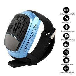 Wholesale Hands Free Sport Mp3 Player - B90 Wireless Bluetooth Speaker Sport Watch Hands Free Call TF Card Music Play FM Radio Audio Anti-lost LED Screen Smart Watches