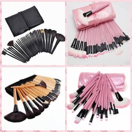 Wholesale Models Cosmetics - Hot explosion models 32 sticks bicolor makeup brush artificial fiber bristles wooden brush handle makeup brush set with cosmetic bag free sh