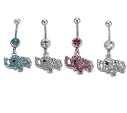 Wholesale white elephant jewelry - D0189 ( 4 color ) clear stone elephant Belly Button ring Navel Rings Body Piercing Jewelry Dangle Accessories Fashion Charm 10PCS