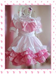 Wholesale Maid Costumes Free Shipping - Wholesale-2016 Super Kawaii Women Girl Cat Ear Sweet Lolita Maid Dress Cosplay Costume Free Shipping 4 Colors