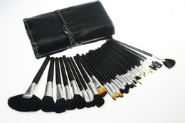 Wholesale Roll Kits - Brand Black Make Up Brushes Set 32 Pcs Professional Makeup Brush Kits Cosmetics Make Up Tools with Roll Up Leather Case