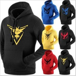 Wholesale Youth Hoodies Wholesale - Youth Poke Go Hoodies Poke Sweatshirts Pullover Mens Fashion Pikachu Jacket Poke Ball Coat Casual Pocket Monster Outwear Poke Jumpers
