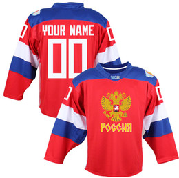 Wholesale Russia Teams - 2016 World Cup Team Russia Men's Hockey Jerseys 9 Orlov 7 Kulikov 1 Varlamov 92 Kuznetson WCH 100% Stitched Jersey Any Name and Number