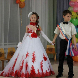Wholesale Girls Dress Red White - New Design White and Red Girls Pageant Dresses Lace Appliques 2016 Girls Party Celebrity Formal Wear Dresses BA1292
