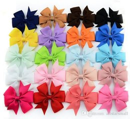 Wholesale Grosgrain Bows Barrette Satin - NEW baby grosgrain Satin Dovetail Ribbon Hair Pin wheel Bows with Duckbill clip Girls' hair accessories boutique bows by EMS free shipp