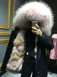 Wholesale Raccoon Long Coat - Pink fur black coats Mr and Mrs Italy Fur-Trimmed & -Lined Parka Mr & Mrs furs coyote fur & Raccoon Fur Parka