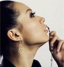 Wholesale Gold Twist Diamond Earrings - Sexy women earrings enviromental friendly alloy twisted diamond double rings for women ear studs ear pins