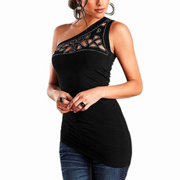 Wholesale Shoulder Cut Shirts - Black Sexy over the shoulder of the T shirt woman 2016 women cut off the collar and casual tops
