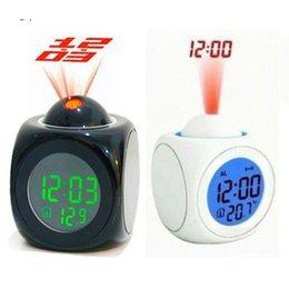 Wholesale Talking Lcd Projection Alarm Clock - Multifunction LCD Talking Projection Time Calendar Desk Travel Alarm Clocks LCD Time Display