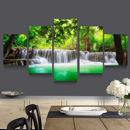 Wholesale Painting Seascapes - 5p modern Home Furnishing HD picture Canvas Print art wall of the sitting room children room decoration theme -- Beautiful nature falls
