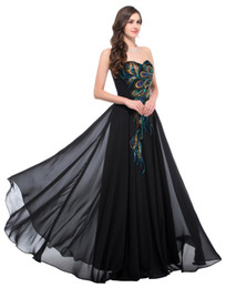 Wholesale Long Peacock Dress - High Quality Robe De Soiree 2018 Peacock prom gowns Strapless chiffon Navy blue long prom dresses embroidery sweetheart backless women Gift