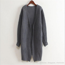 Wholesale Women Nice Winter Coats - Women Korean Long Cardigan Open Stitch Casual Knitted Coat Autumn Winter Fashion Ladies Street Wear Outwear Nice