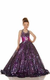 Argentina 2015 Sexy Gold Purple lentejuelas con cuentas niñas vestidos del desfile halter vestido de bola lentejuelas brillantes baratos vestidos de niña de flores Glitz caliente venta Suministro