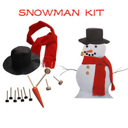 wholesale toys free shipping Promo Codes - Wooden Simulation Dress Up Snowman Kit Christmas Decor Accessories Set Kit Snowman Eyes Nose Mouth Pipe Buttons Scarf Hat free shipping