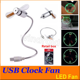Wholesale Cheapest Clocks - LED USB Clock Fan LED Timing Mini Cooling Fan Programmable Edit Word for Laptop Computer Charger Power Bank with retail package cheapest 100