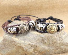 Wholesale Hand Made Bracelets For Men - 2017 Europe Punk Hand Made Braided Charm Bracelet Bangles Gold Lion Head Wristband Cuff Leather Bracelet For Men Adjustable