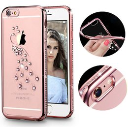 Wholesale Iphone Swan - luxury Bling Soft TPU Case For Apple iPhone 5S SE Gold Silicon back Cover Celular for iPhone 5 Swan Peacock Pattern Case for 5SE