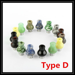 Wholesale Long Vases Wholesale - 2016 Newest Natural Jade Vase Drip Tips 510 EGO Gourd Ecig Mouthpieces Long Plastic Drip Tip Flat POM Acrylic Hybrid For RDA Atomizers