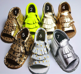Wholesale Ankle Strap Leopard Shoes - 7 Color cow leather Infant open toe mocassions Thickened leopard sandals EMS baby tassels star dot leather 2layer fringe shoes B001