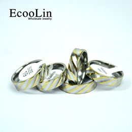 Wholesale Gold Mix Design Rings Jewelry - EcooLin Jewelry New design Fashion Water Ripple Gold Stainless Steel Rings For Women Men Jewelry Wholesale Bules Ring Lots Never Fade LB4013