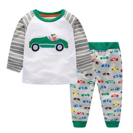 Wholesale cars clothes long sleeve - European Boys clothing sets Autumn Cartoon Cars Boys T shirt + pant 2pcs set Striped Raglan Sleeve 2017 Fall Spring