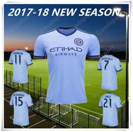 Wholesale Cheap Foot - 2017-2018 New York City Jerseys 16 17 PIRLO MIX DAVID VILLA LAMPARD Away Blue Maillot De Foot Hot Sale Cheap shirts