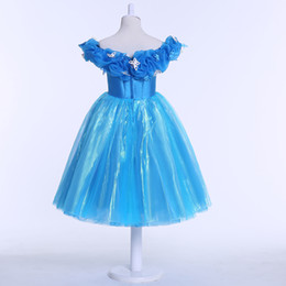Wholesale Butterfly Robes - New Cinderella Flower Girl Dress Retail Robe Princesse Enfant Girl Dress Butterfly For Cinderella Cosplay Costume Fancy Dresses