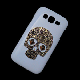 Wholesale Vintage Cases For Galaxy Grand - Hard Back Case for Samsung Galaxy Grand Duos i9082 i9080, Punk Rivet Stud Vintage Retro Bronze Metallic Skull White Protective Skin Cover