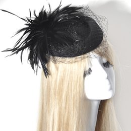 Wholesale African Feather Hat - trendy Bridal lady women Feather Fascinator wool Pillbox Hats Wedding Hair Pieces black red brown