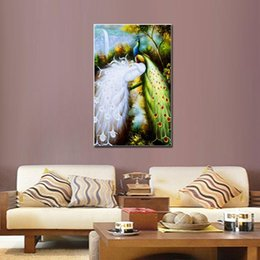 Wholesale White Peacock Paintings - One-Picture Combination Animal Canvas Print RePro White and Green Peacocks The Picture For Home and Office Decoration