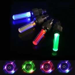Wholesale Neon Tyres - Free shipping 4 Colors Choice 50Pairs Bicycle Car Valve Caps Light Tyre Wheel light Neon LED Lamp Bike Accessories