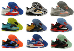 Wholesale Kd Prices Green - 2016 new Kevin Durant KD 7 Basketball Shoes KD7 Sports Shoe Athletic Running shoes Best price Quality With Standout Mid sole Size 40-46