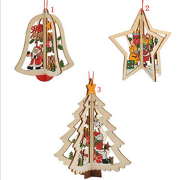 Wholesale Wooden Tree Decor - Christmas Wooden Hanging Pendants Star Bell Christmas Tree Shaped 3D Cartoon Home Party Decor 3 Styles OOA3286