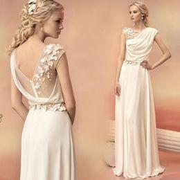 Wholesale Dresses Greek Lace - Long Evening Dresses 2016 Bride Princess Banquet Lace Chiffon Prom Dress Greek Goddess Elegant Backless Plus Size Formal Dress