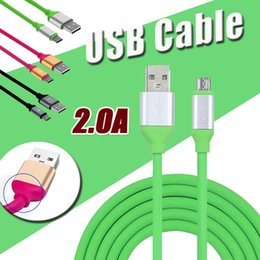 Wholesale Wholesale Color Cellphone Charger - 1.2M 2A Fast Charging High Speed Quick Micro USB Data Cable Alloy Color TPE Cellphone Data Charger Adapter Cable Data Sync For Android