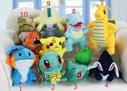 Wholesale Pokemon Lugia Figure - MOQ 10 pcs Poke plush toys 10 styles Mudkip Squirtle Bulbasaur Lugia Dragonite Totodile Jirachi Plush Toys Soft Dolls Free Shipping
