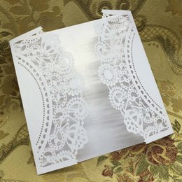 Wholesale Laser Cutting Patterns - Wholesale- 20 pcs White Laser Cut Wedding Celebration Birthday Party Invitation Card Delicate Envelope Carved Pattern 15.1 * 14.9cm