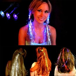 Wholesale Led Light Hair Clips Wholesale - LED Flash Braid Women Colorful Luminous Hair Clips Barrette Fiber Hairpin Light Up Party Halloween Bar Night Xmas Toys Decor DHL free JU191