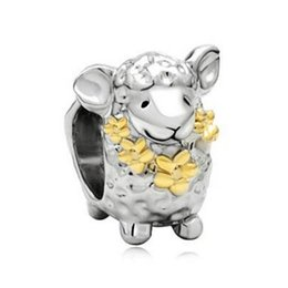 Wholesale Wholesale Metal Sheep Charms - Two tone plating gold flower necklace sheep bead European Charm Fit fashion Bracelet from factory directly