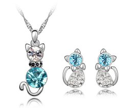Wholesale Earrings Wholesale Mixed Order Silver - Fashion Cat Crystal Jewelry Sets High Quality Necklace Earrins Sets 6 Colors Min Order 10pcs A94