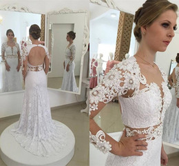 Wholesale Open Back Pearl Wedding Dress - Elegant Mermaid White Full Lace Wedding Dresses 2016 Sexy Open Back Sheer Long Sleeves Lace Beaded Bridal Gowns Custom Made 2017 New