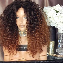 Wholesale Ombre Curly Human Hair Lace - Human Hair Lace Wig Curly Ombre Color T1b 30 Full Lace Wigs With Baby Hair Brazilian Virgin Hair 150 Density Natural Hairline Glueless