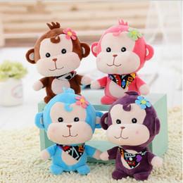 Canada 12 cm 4 couleurs délicate singe en peluche en peluche, pendentif en peluche poupée Bouquet cadeau en peluche jouet poupée pour les enfants Offre