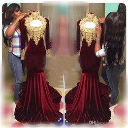 Wholesale Capped Sleeved Dresses - Burgundy Velvet Mermaid Prom Dresses 2017 High Neck Gold Appliques Lace Long Sleeved Evening Dress African Prom Gowns