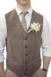 Wholesale European Size 46 - Tailorschina Herrigbone Tweedy Vintage Brown Groom vests Wedding Vests All Sizes Available Including Kids Size