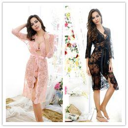 2019 rosa nachthemden Großhandels- 2017 Frauen Sexy Durchsichtig Nachtwäsche Spitze Nachthemd Nachtwäsche Mesh Sleep Home Kleidung Schlaf Kleid Rosa Schwarz Erotische Fetisch günstig rosa nachthemden